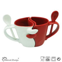11oz Ceramic Valentine Mugs with Spoon